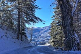 Route pour la Font d'Eygliers en hiver